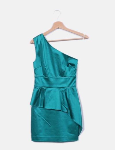 Vestido verde satinado escote asimétrico Guess