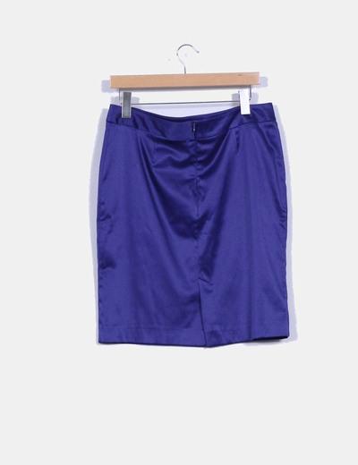 Falda midi azul klein satinada