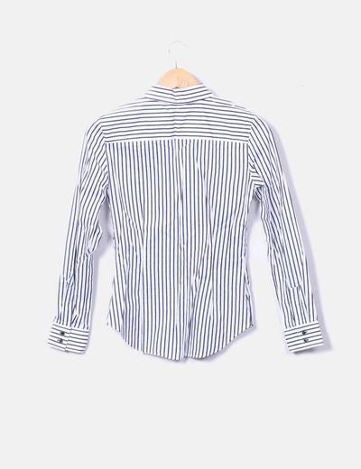 2067b95125373 Zara Camisa blanca con rayas azules (descuento 80%) - Micolet