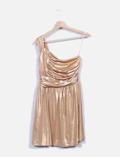 Vestido dourada assimétrico Suiteblanco