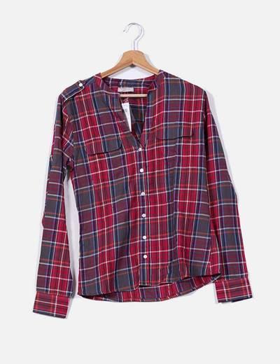 Camisa de cuadros roja y gris con cuello mao Tex Woman