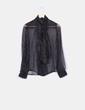 Camisa negra semistransparente hilos glitter Mango