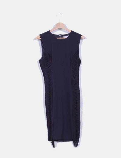 Vestido tubo azul marino con flecos  laterales H&M