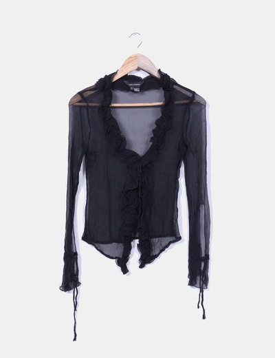 Blusa negra transparente drapeada Zara