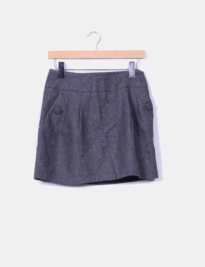 Falda mini gris detalle botones H&M