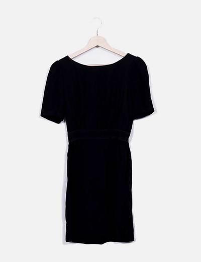 Vestido midi negro manga corta Tara Jarmon