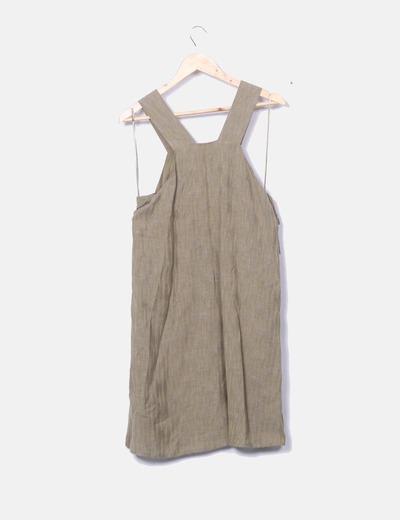Vestido lino kaki Intropia