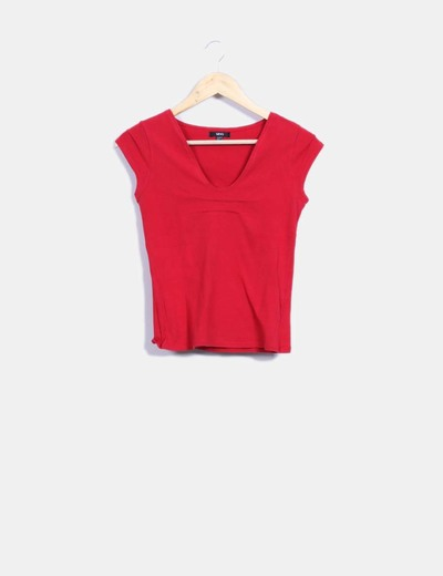 Camiseta roja escote redondo Mango