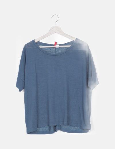 Camiseta azul petróleo semitransparente