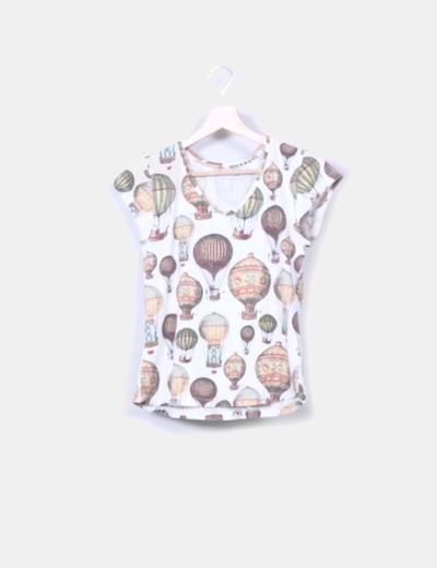 Camiseta manga corta print globos retro Leyenda&Co