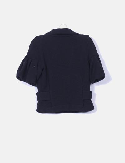 Jersey punto negro mangas abullonadas