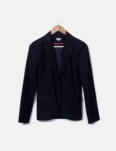 Conjunto de blazer y pantalón negro a rayas
