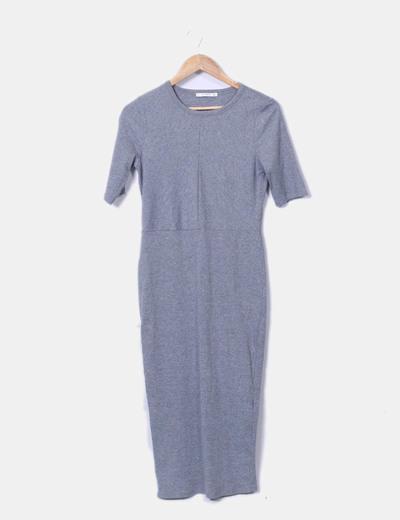 Vestido maxi gris canalé Pull&Bear