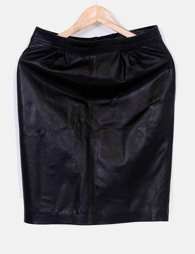 Falda piel recta Massimo Dutti