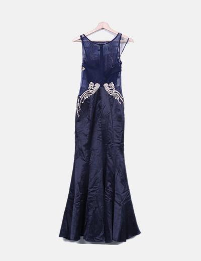 Vestido Fiesta Corte Sirena Combinado Navy Detalles Dorados