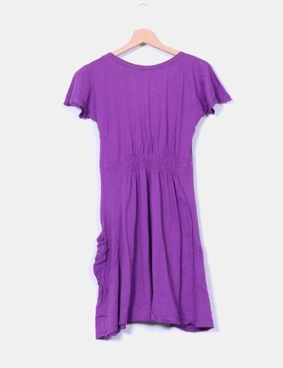 Vestido morado escote redondo