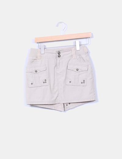 Mini falda beige con bolsillos Fishbone