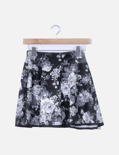 Falda gris oscura print floral
