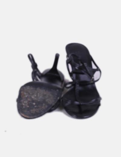 Eh9i2d Piel Tira Sandalia De Tacón Negra rChdtQs