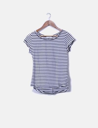 Camiseta básica blanca rayas azules Bershka