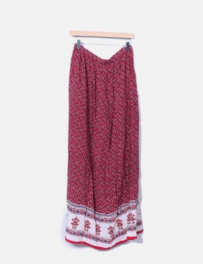 Falda maxi roja floral