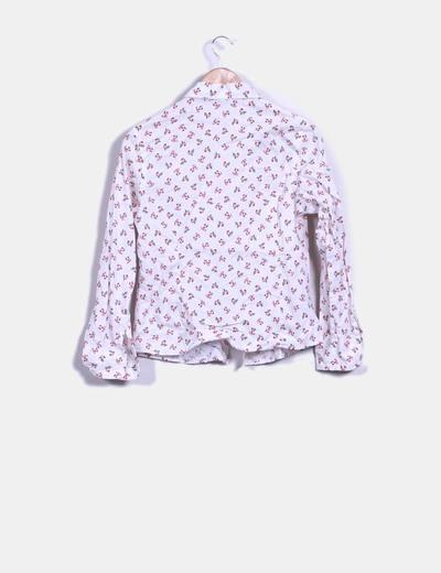 Blusa blanca manga larga con estampado floral