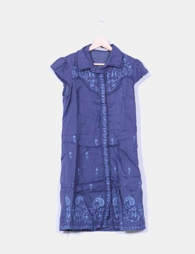 Vestido de lino azul petróleo Anany