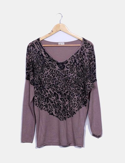 Teria Yabar Taupe animal print jersey with strass (discount 81 ...