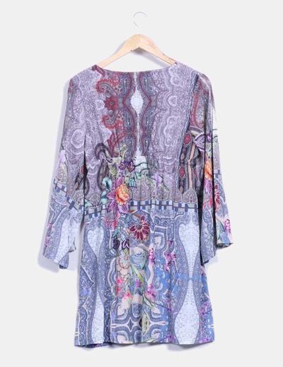 Vestido estampado cachemira multicolor