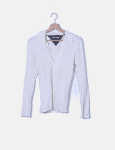 Jersey tricot banco con escote en pico