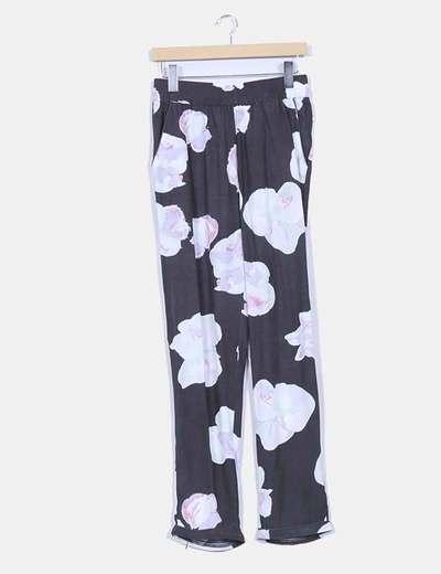 Pantalón baggy gris marengo estampado floral VILA