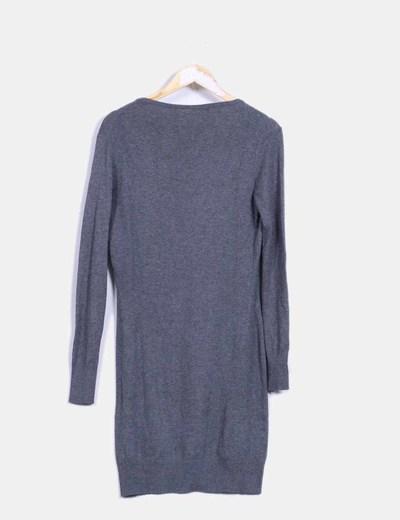 Vestido de punto gris oversize