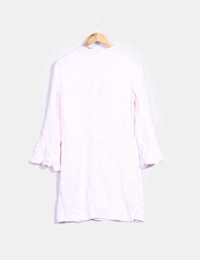 Vestido rosa palo mangas avolantadas