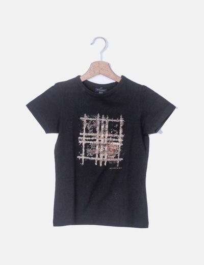 Camiseta negra print burberry
