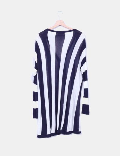 Chaqueta larga tricot rayas azul marino verticales