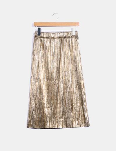 d6caad42a Zara Falda plisada dorada (descuento 69%) - Micolet