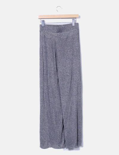Pantalon recto tricot plateado