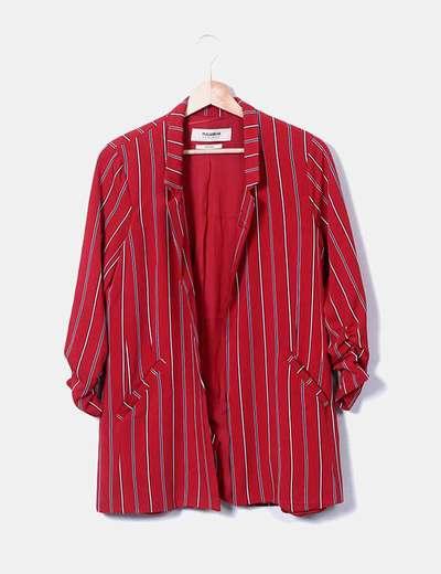 Garnet blazer with stripes Pull&Bear