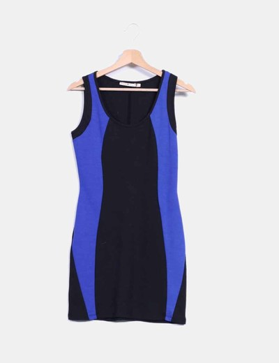 Vestido negro y azul combinado Inside