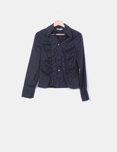 Camisa negra troquelada manga larga CeDosCE