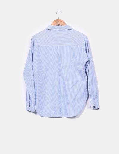 Blusa larga azul a rayas