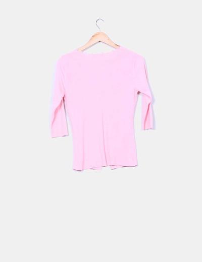 Chaqueta tricot canale rosa manga francesa