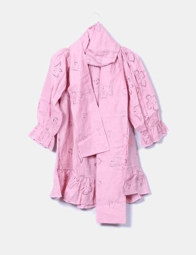 Vestido rosa bordado escote barco Flamenco