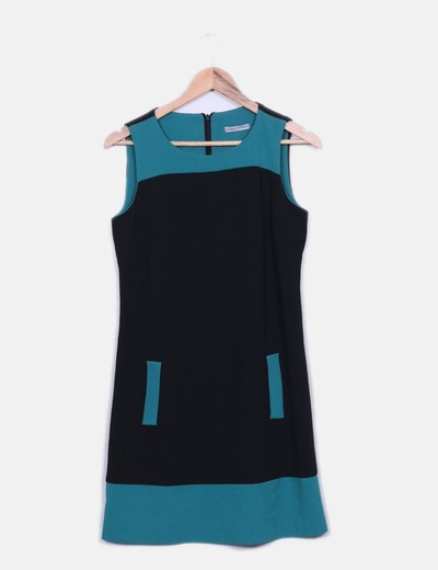 Vestido negro y verde sin mangas Made in Italy