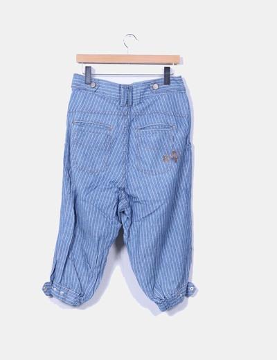 Pantalon harem fit beduino denim de rayas