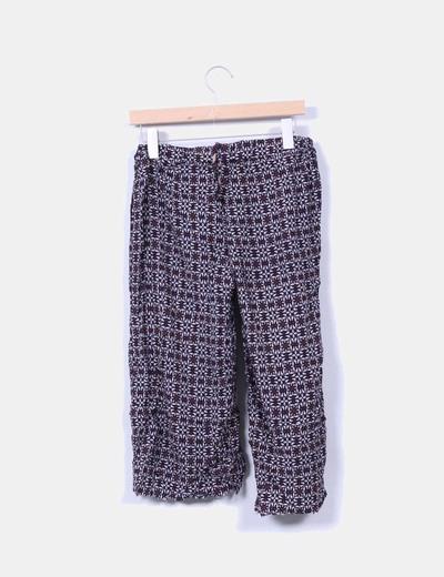 Pantalon culotte azul marino estampado