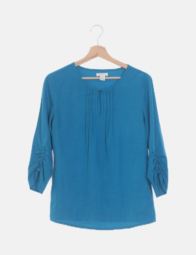 Blusa manga larga azul detalle plisado