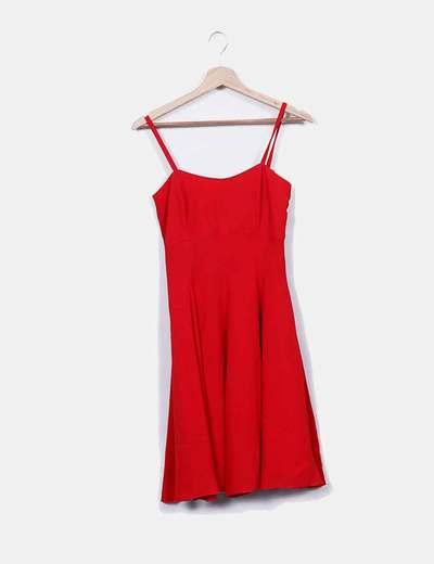 Vestido rojo de tirantes evasé Bessy