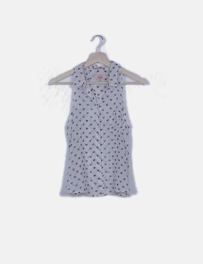 Camisa blanca semitransparente print corazones