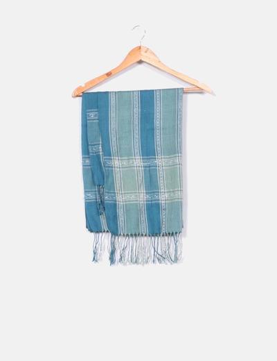 Foulard de hilo azul petróleo rayas beige NoName